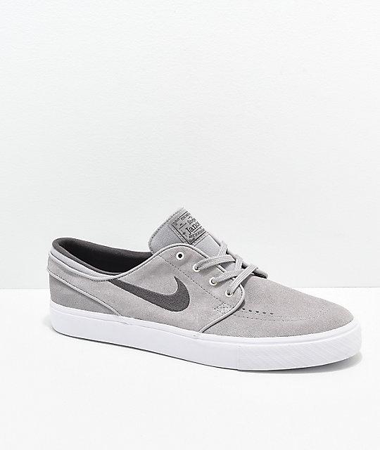 tienda de liquidación comprar en linea varios diseños Nike SB Janoski Atmosphere Grey & White Suede Skate Shoes