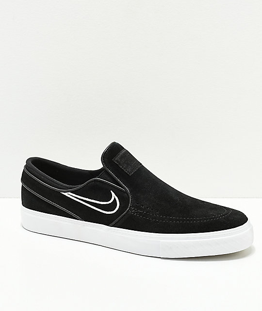 Nike SB Janoski Black & Bone Suede Slip-On Skate Shoes