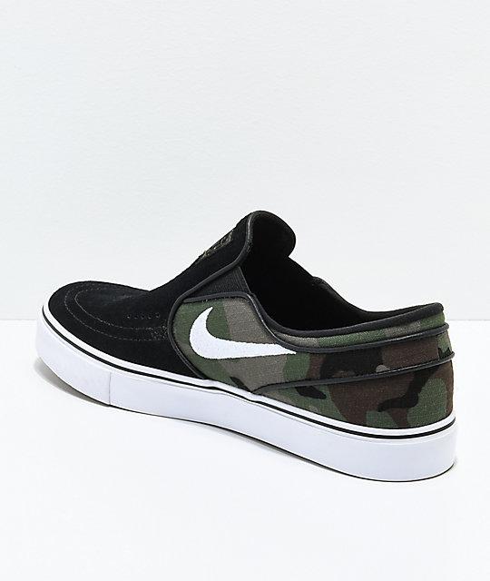 806ca5d47ced ... Nike SB Janoski Black   Camo Slip-On Skate Shoes ...