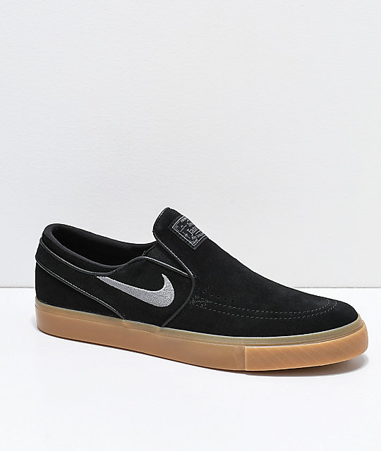 offer discounts get online online for sale Nike SB Janoski Black & Gum Suede Slip-On Skate Shoes