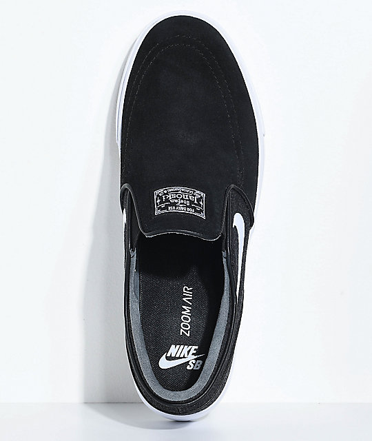 Nike SB Janoski Black & White Denim Slip-On Skate Shoes