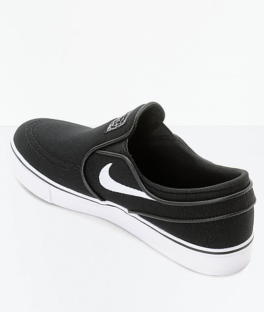 Nike SB Janoski Black & White Kids Slip-On Canvas Skate Shoes