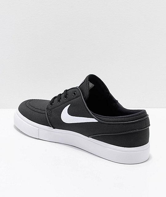 d9c8f7b2e3274 ... Nike SB Janoski Black   White Ripstop Canvas Skate Shoes ...