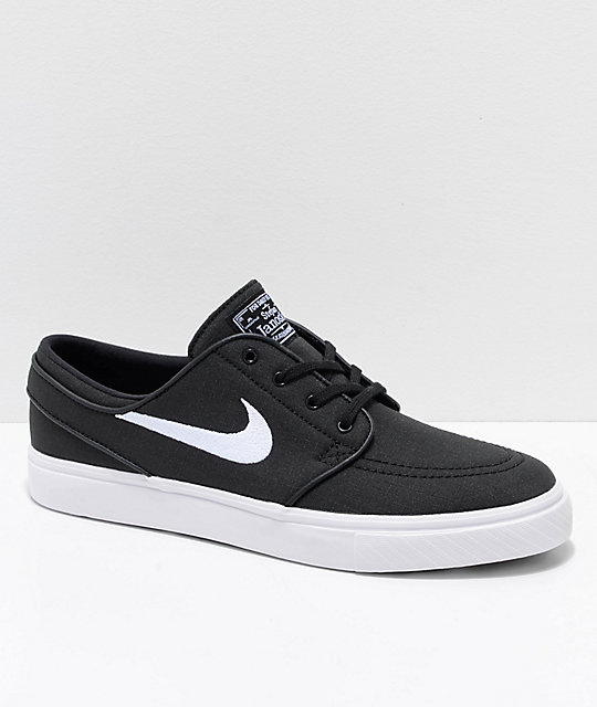 fb782c7fe912d Nike SB Janoski Black   White Ripstop Canvas Skate Shoes