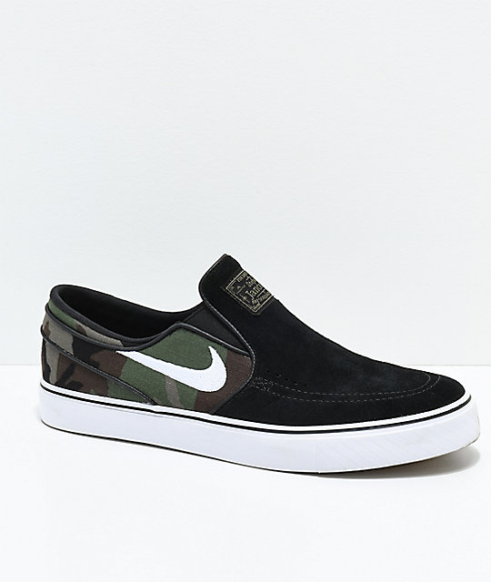 Nike SB Janoski Black & Camo Slip-On Skate Shoes ...