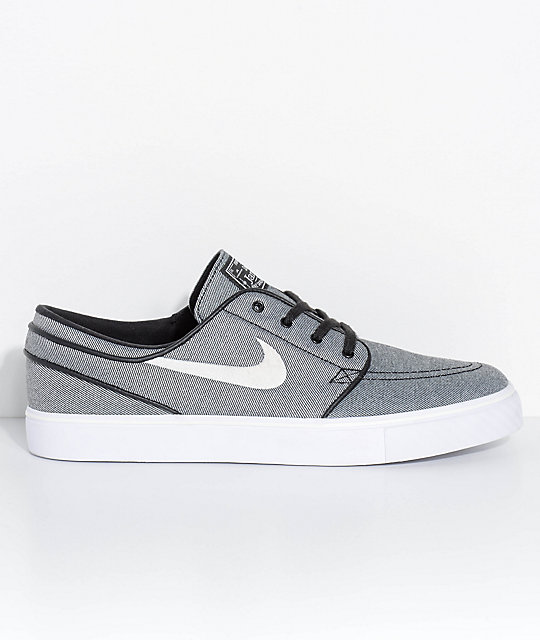 Nike SB Janoski Black Sail & White Canvas Skate Shoes