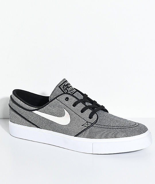034f0ea6bbd2 Nike SB Janoski Black Sail   White Canvas Skate Shoes