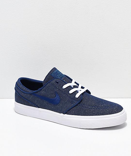 low priced fa5ff 87e00 Nike SB Janoski Blue Void   White Canvas Skate Shoes   Zumiez