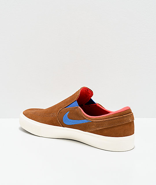 Nike SB Janoski British Slip-on zapatos de skate marrones y blancos
