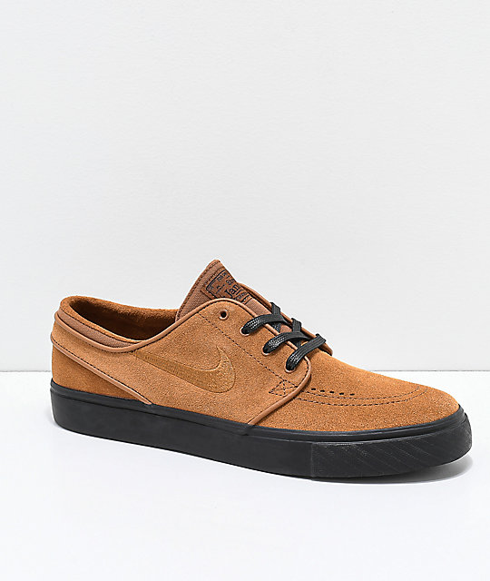 86bc8ac132a Nike SB Janoski British Tan   Black Suede Skate Shoes ...