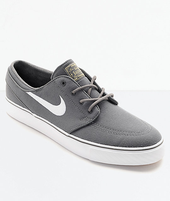 Nike SB Janoski Canvas Grey   White Skate Shoes  ccceefeb9