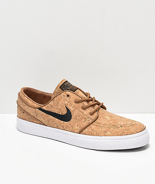 30cb1f8b Nike SB Janoski Elite Ale Brown & White Cork Skate Shoes | Zumiez
