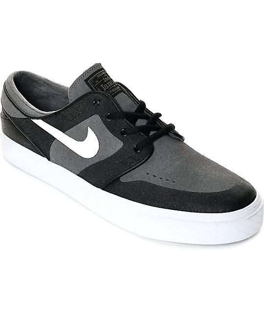 2cada2b0de Nike SB Janoski Elite Dark Grey, White & Black Skate Shoes | Zumiez