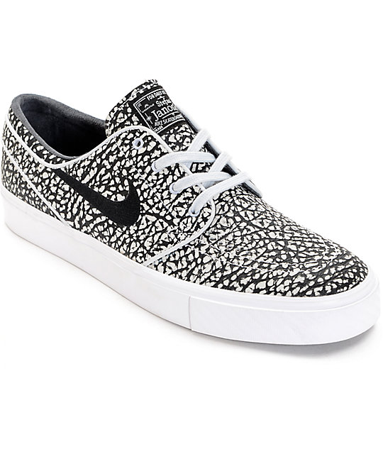 check out ddc2c 1a757 Nike SB Janoski Elite Black  White Skate Shoes  Zumiez
