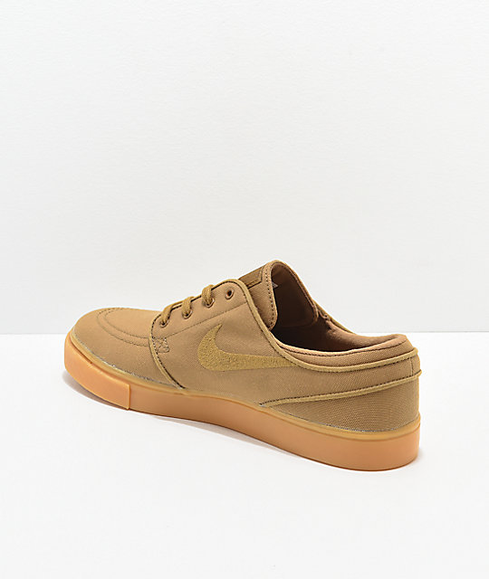 Nike SB Janoski Golden Beige & Gum Canvas Skate Shoes
