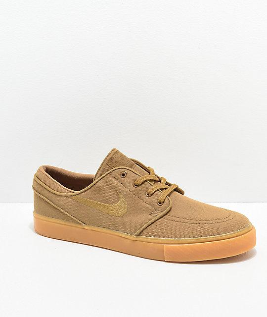 9c5a99515288 Nike SB Janoski Golden Beige   Gum Canvas Skate Shoes