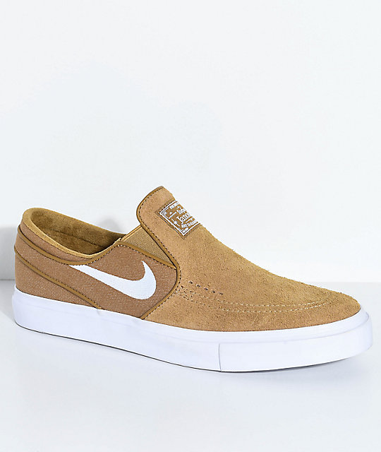 76a33cd537fdf Nike SB Janoski Golden Beige   White Slip-On Skate Shoes