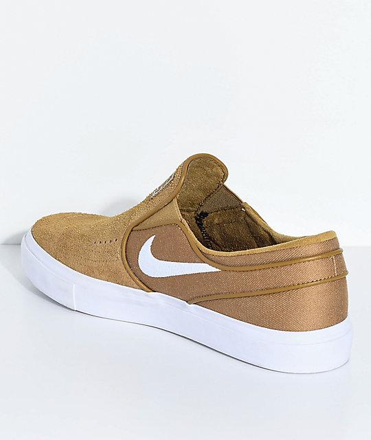... Nike SB Janoski Golden Beige & White Slip-On Skate Shoes ...