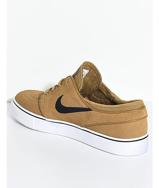 Nike SB Janoski Golden Beige & White Suede Skate Shoes Brown, Mens Skate Shoes Mens, Skate Shoes