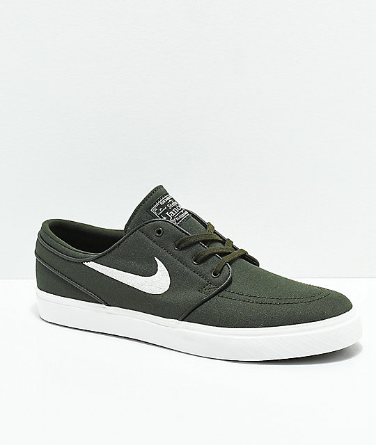 Nike SB Janoski Green & White Canvas Ripstop Skate Shoes