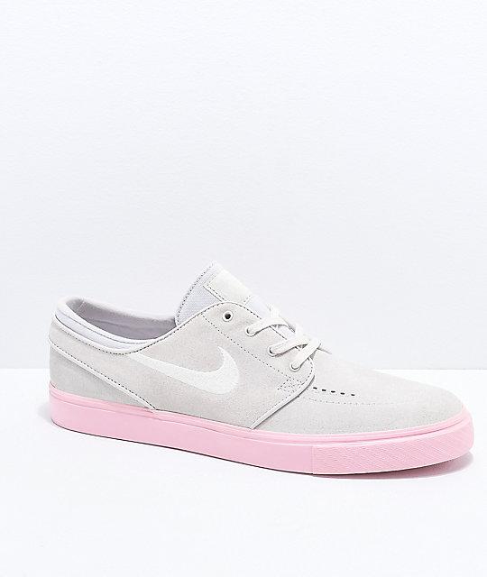 9302b1091965de Nike SB Janoski Grey   Bubblegum Pink Suede Skate Shoes