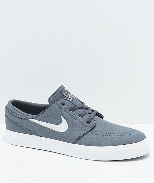 populärt varumärke nya stilar bra ut x Nike SB Janoski Grey & White Ripstop Canvas Skate Shoes   Zumiez