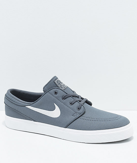 Nike SB Janoski Grey & White Ripstop Canvas Skate Shoes ...