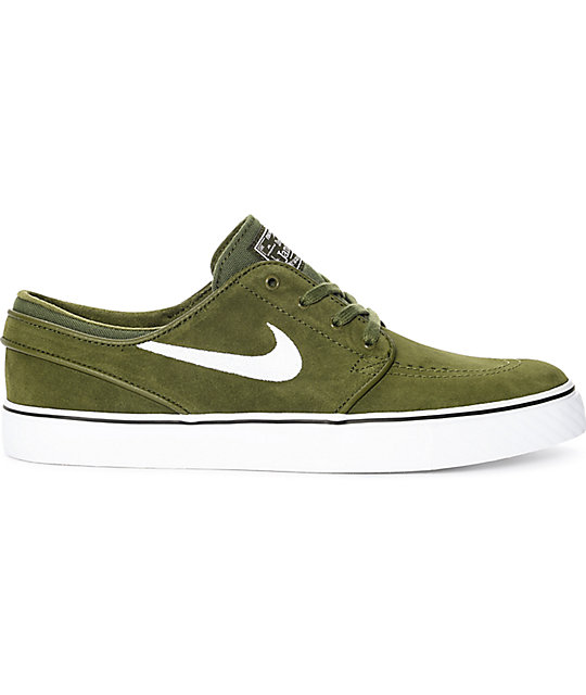 ... Nike SB Janoski Legion Green   White Suede Skate Shoes ce33ed6d7e516