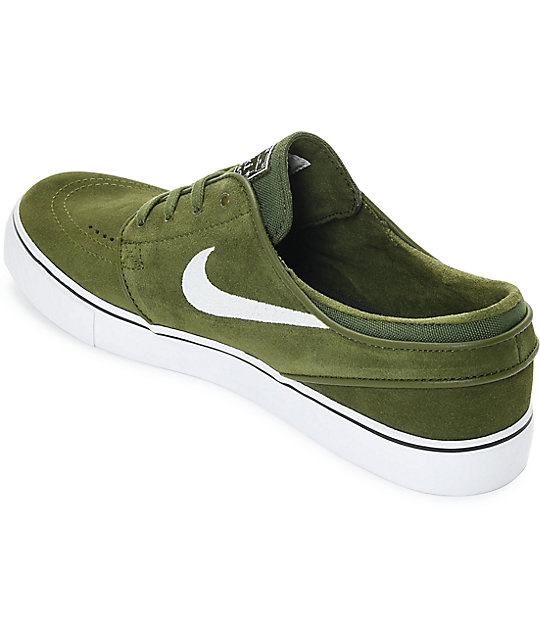 ... Nike SB Janoski Legion Green   White Suede Skate Shoes ... 2fcae093f0813