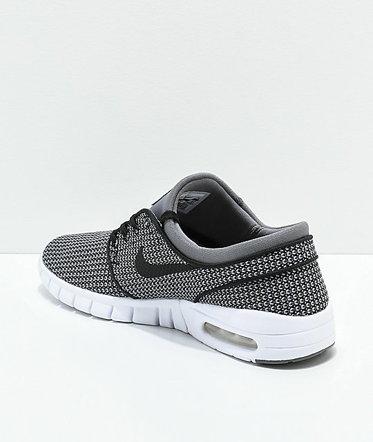 b1eaa9deb22978 ... Nike SB Janoski Max Gunsmoke Black   White Skate Shoes ...
