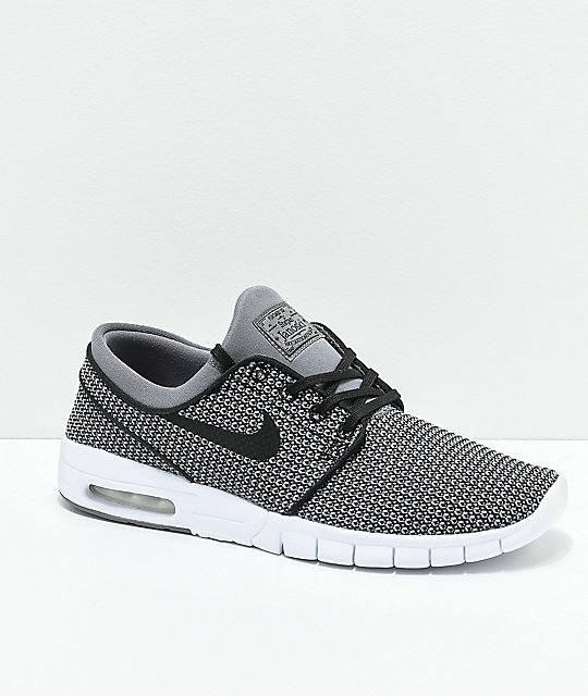hot sale online db674 6eba1 Nike SB Janoski Max Gunsmoke Black   White Skate Shoes   Zumiez.ca