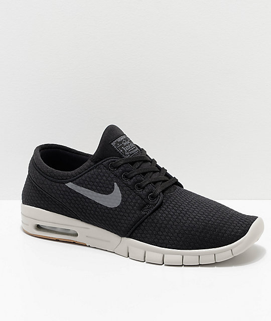 Nike SB Janoski Max Quilted Black & White Skate Shoes ...