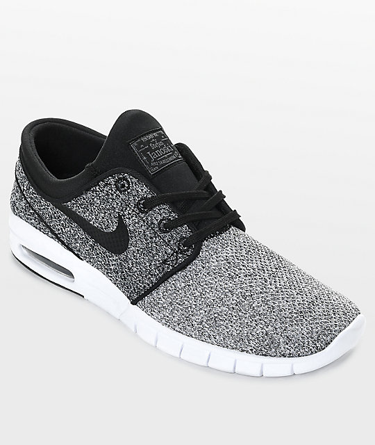 save off 25adf 22fee Nike SB Janoski Max White, Black   Dark Grey Skate Shoes   Zumiez.ca