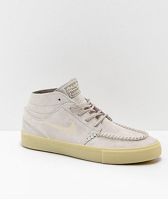 160d15f22f6b Nike SB Janoski Mid Crafted Cream   Light Gum Skate Shoes
