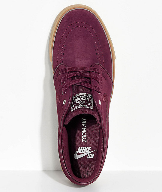 038ce9ba9e08 ... Nike SB Janoski Night Maroon   Gum Suede Skate Shoes ...