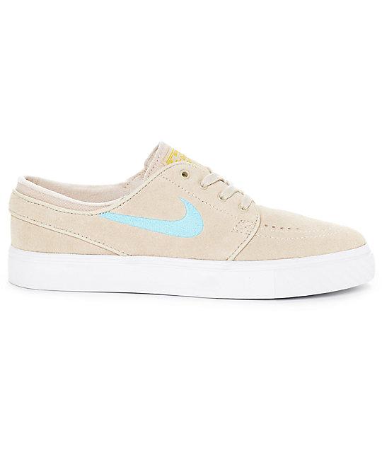 Nike SB Janoski Oatmeal & Vivid Sky Suede Women's Skate Shoes