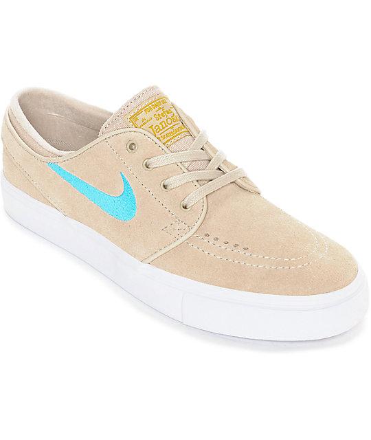 Nike SB Janoski Oatmeal & Vivid Sky Suede Women's Skate Shoes ...