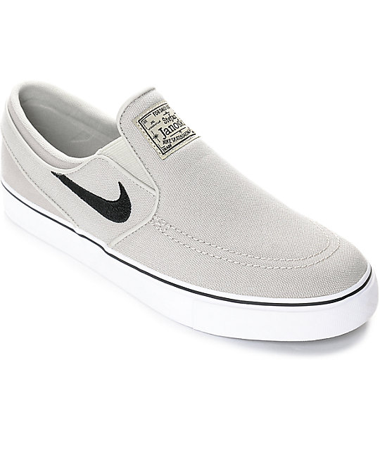 a38fb2733fba Nike SB Janoski Pale Grey Kids Slip-On Canvas Skate Shoes