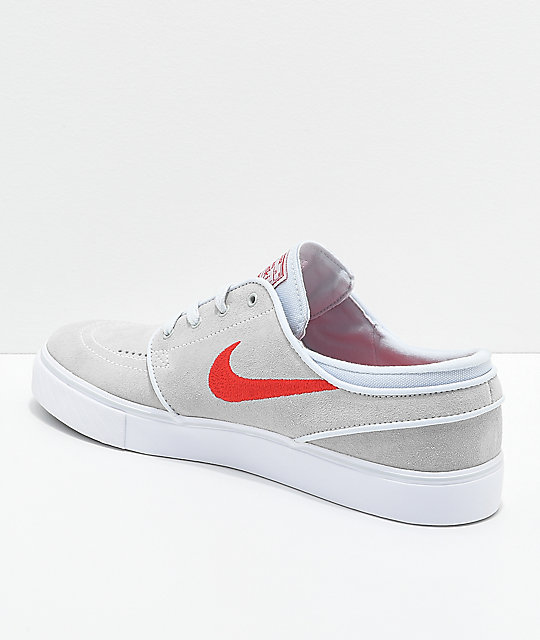 Nike SB Janoski Platinum & Red Suede Skate Shoes