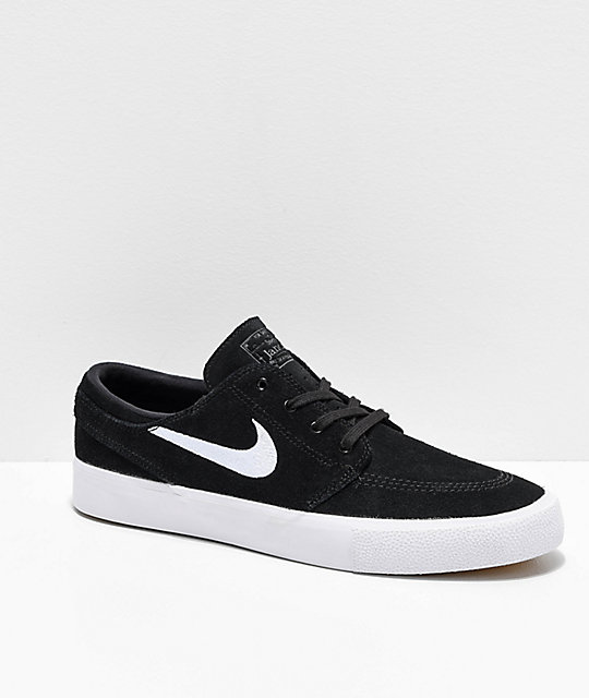 Nike SB Janoski RM Black & White Suede Skate Shoes
