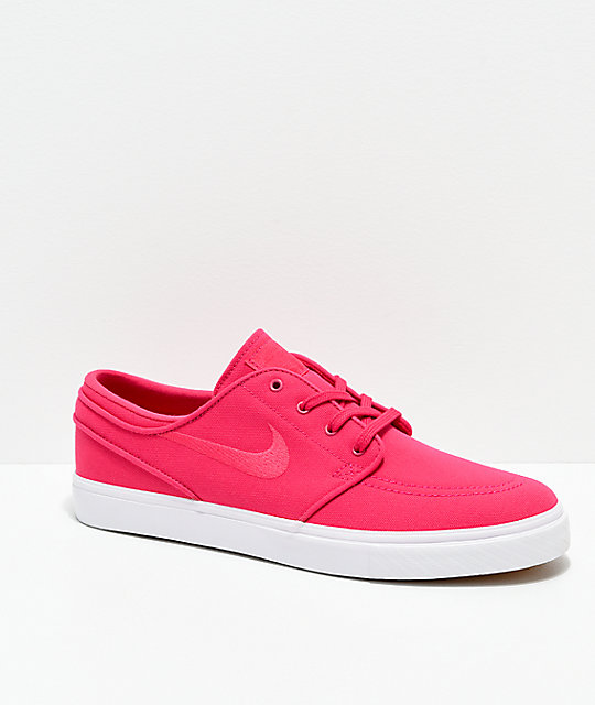 buy best various colors best service Nike SB Janoski Rush Pink & White Canvas Skate Shoes