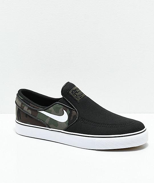 al por mayor buscar genuino niño Nike SB Janoski Slip-On zapatos de skate para niños en negro y camuflaje