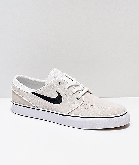 promo code df99c 358b3 Nike SB Janoski Summit White   Black Suede Skate Shoes   Zumiez
