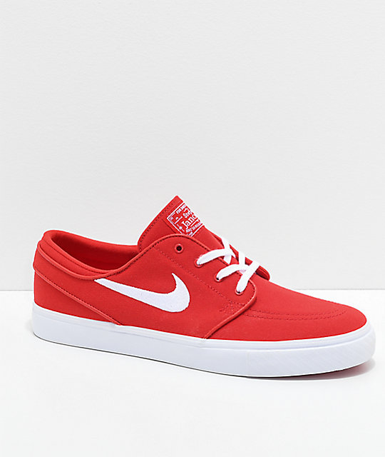 Nike SB Janoski University Red Canvas Skate Shoes  82083c50725e