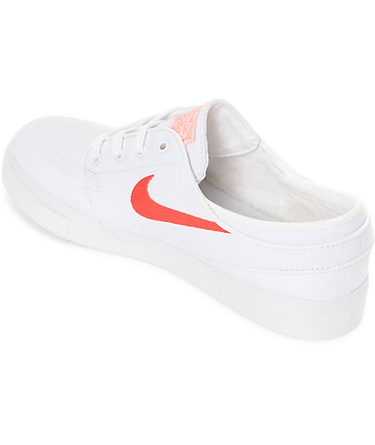 Nike SB Janoski White & Air Max Orange Canvas Skate Shoes
