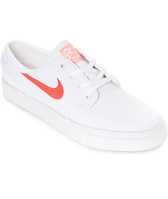 wholesale dealer be0dc fc3c5 Nike SB Janoski White   Air Max Orange Canvas Skate Shoes   Zumiez
