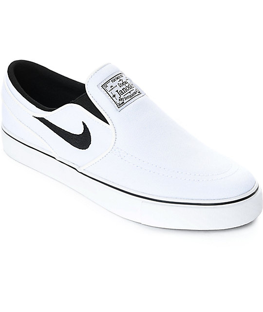 Nike SB Janoski White & Black Canvas Slip On Women's Skate Shoes