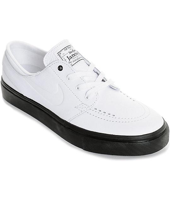 Nike SB Janoski White   Black Leather Women s Skate Shoes  50e27408e7
