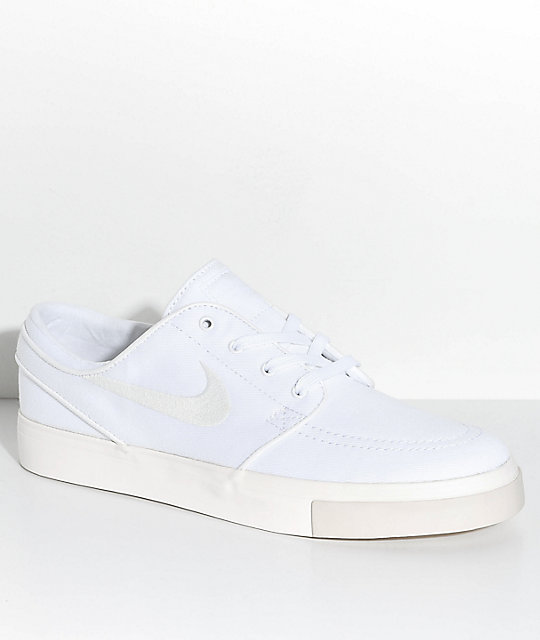 588d6a79a39 Nike SB Janoski White   Ivory Canvas Skate Shoes