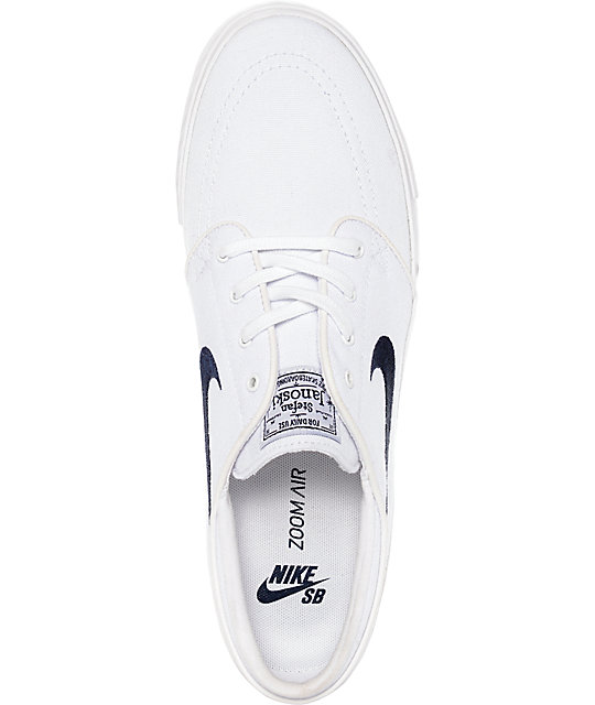 Nike SB Janoski White & Obsidian Canvas Skate Shoes